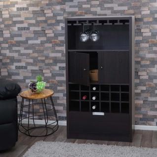 Weinschrank HWC-F66, Weinregal Barschrank Flaschenregal Holzregal Flaschenständer, 120x62x35cm ~ Espresso-Braun