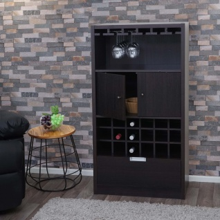 Weinschrank HWC-F66, Weinregal Barschrank Flaschenregal Holzregal Flaschenständer, 120x62x35cm Espresso-Braun
