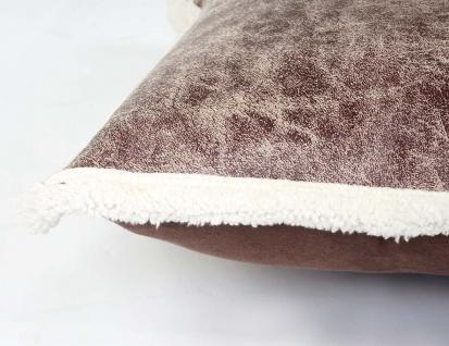 Deko-Kissen Wildlederimitat, Sofakissen Zierkissen mit Füllung, braun Fellimitat 45x45cm - Vorschau 3