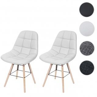 2x Esszimmerstuhl HWC-A60 II, Stuhl Lehnstuhl, Retro 50er Jahre Design Kunstleder weiß