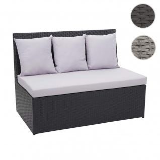 Poly-Rattan 2er Sofa HWC-G16, Lounge-Gartenbank Sitzbank Sessel, Gastronomie 120cm ~ schwarz, Kissen hellgrau