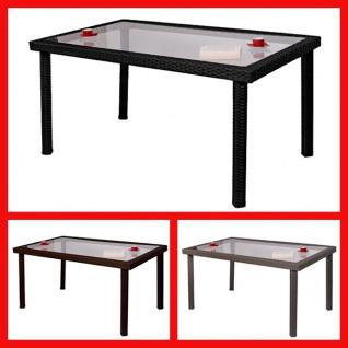 Gartentisch Esszimmertisch Tisch RomV, Poly-Rattan, braun