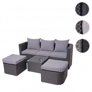 3in1-Garnitur HWC-J37, Garten-/Lounge-Set Sonneninsel, Spun Poly halbrundes Poly-Rattan ~ anthrazit, Kissen hellgrau