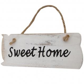 Wandschild Sweet Home, Dekoschild, Shabby-Look 10x25x1cm ~ weiß