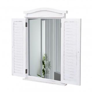 Wandspiegel Badspiegel Badezimmer Spiegelfenster mit Fensterläden, 71x46x5cm ~ shabby weiß - Vorschau 2