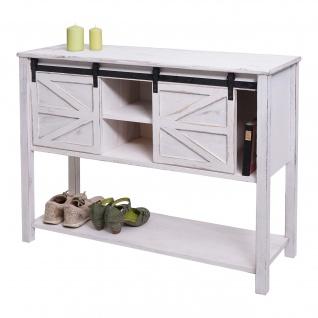Kommode HWC-D57, Schiebetürenschrank Sideboard Schrank, Shabby-Look Vintage 81x102x34cm ~ weiß - Vorschau 2