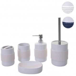 5-teiliges Badset HWC-C73, WC-Garnitur Badezimmerset Badaccessoires, Keramik ~ weiß
