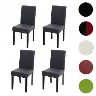 4x Esszimmerstuhl Stuhl Küchenstuhl Littau ~ Kunstleder, grau matt, dunkle Beine
