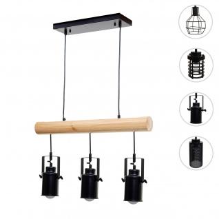 Pendelleuchte HWC-H83, Hängelampe Hängeleuchte, Industrial Vintage Massiv-Holz Metall schwarz ~ 3 Spotlampenschirme