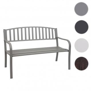 Gartenbank HWC-F43, Bank Parkbank Sitzbank, 2-Sitzer pulverbeschichteter Stahl ~ grau