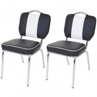 2x Esszimmerstuhl Avellino, Stuhl Küchenstuhl, Retro 50er Jahre Design, Kunstleder schwarz-weiß