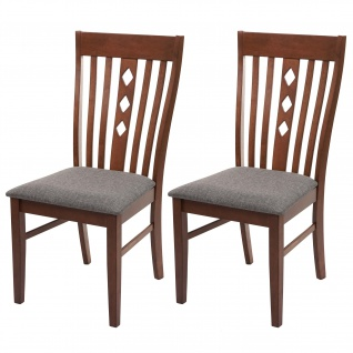 2x Esszimmerstuhl HWC-G62, Küchenstuhl Lehnstuhl Stuhl, Stoff/Textil Massiv-Holz Landhaus dunkles Gestell, grau - Vorschau 1