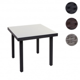 Poly-Rattan Gartentisch Cava, Esstisch Beistelltisch Tisch mit Glasplatte, 80x80cm schwarz