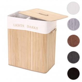 Wäschekorb HWC-C21, Laundry Wäschebox Wäschesammler Wäschebehälter, Bambus 2 Fächer 63x55x34cm 100l ~ naturfarben