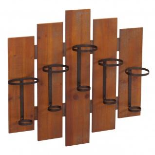 Weinregal HWC-B99, Wandregal Flaschenhalter, Holz Metall für 5 Flaschen 60x60x12cm