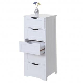 Kommode HWC-B65, Schubladenschrank Schrank, 5 Schubladen 100x40x35cm ~ weiß - Vorschau 2