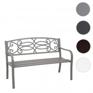Gartenbank HWC-F44, Bank Parkbank Sitzbank, 2-Sitzer pulverbeschichteter Stahl ~ grau