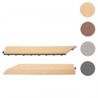 2x Abschlussleiste für WPC Bodenfliese Rhone, Abschlussprofil, Holzoptik Balkon/Terrasse ~ teak links ohne Haken