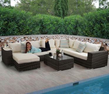 Luxus Poly-Rattan Sofa-Garnitur Melilla, Lounge-Set, Alu-Gestell