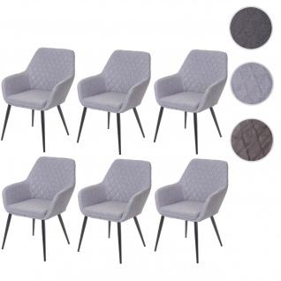 6x Esszimmerstuhl HWC-D35, Stuhl Küchenstuhl, Stoff/Textil Retro hellgrau
