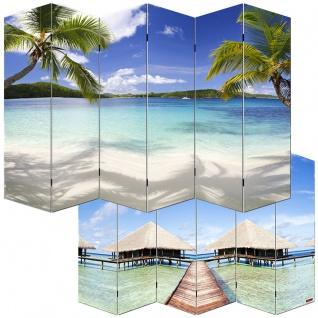 Foto-Paravent Paravent Raumteiler Spanische Wand M68, 6 Panels ~ 180x240cm, Strand