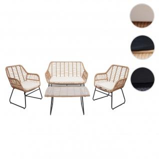 Polyrattan Garnitur HWC-G17a, Gartengarnitur Sofa Set Sitzgruppe ~ naturfarben, Polster creme ohne Dekokissen