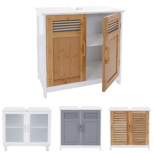 Waschbeckenunterschrank HWC-B41, Badschrank mit Staufach, Bambus, weiß 60x60x30cm