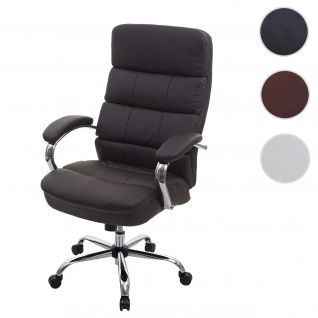 XXL Bürostuhl HWC-H95, Drehstuhl Schreibtischstuhl Chefsessel, 220kg belastbar Federkern Kunstleder ~ braun