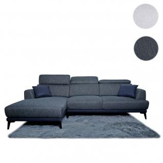 Sofa HWC-G44, Couch Ecksofa L-Form, Liegefläche Nosagfederung Taschenfederkern Teppich verstellbar ~ links, dunkelgrau