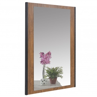 Garderobenspiegel HWC-A27, Wandspiegel Spiegel, 80x54cm 3D-Struktur, Wildeiche-Optik