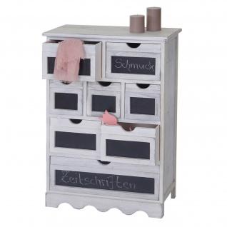 Kommode Ermelo, Schubladenschrank mit Tafel, Shabby-Look Vintage 87x60x30cm weiß