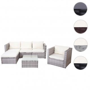 Poly-Rattan-Garnitur Brescia, Gartengarnitur Sitzgruppe Sofa Lounge-Set ~ grau, Kissen creme