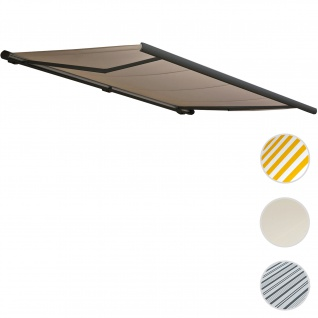 Elektrische Kassettenmarkise T122, Markise Vollkassette 4x3m ~ Polyester Sand, Rahmen anthrazitgrau