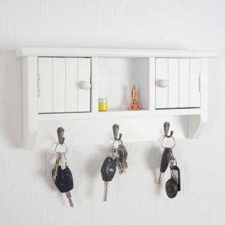Schlüsselbrett HWC-A48, Schlüsselkasten Schlüsselboard mit Türen, Massiv-Holz ~ weiß - Vorschau 2
