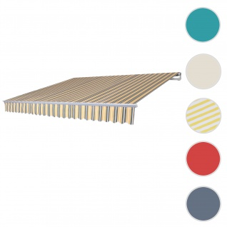 Alu-Markise T791, Gelenkarmmarkise Sonnenschutz 4, 5x3m ~ Polyester grau-gelb