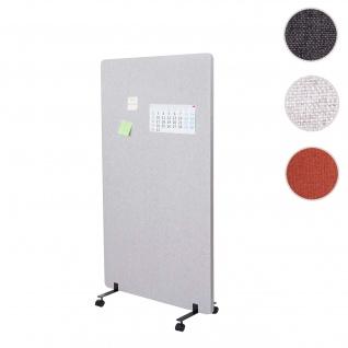 Akustik-Trennwand HWC-G77, Büro-Sichtschutz Raumteiler Pinnwand, doppelwandig rollbar Stoff/Textil ~ 147x80cm grau