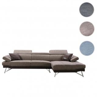 Sofa HWC-H92, Couch Ecksofa L-Form 3-Sitzer, Liegefläche ~ rechts, braun