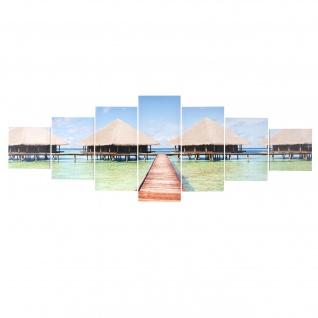 Leinwandbild T375, Kunstdruck, 7-teilig 140x50cm ~ Beach