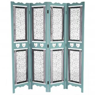 Paravent Motala, Raumteiler Trennwand, Textil Ornamente grün