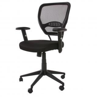 Profi-Bürostuhl Seattle, 150kg belastbar, Stoff/Textil ~ schwarz mit Armlehnen
