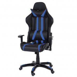 Bürostuhl T414 XXL, Drehstuhl, 150kg belastbar Kunstleder schwarz/blau
