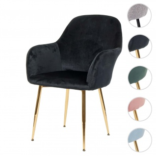 Esszimmerstuhl HWC-F18, Stuhl Küchenstuhl, Retro Design ~ Samt schwarz, goldene Beine