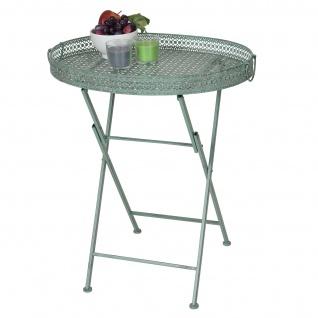 Klapptisch HWC-C39, Gartentisch, klappbar Metall antik-grün