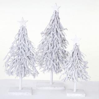 3er Set Dekobäume, S+M+L Weihnachtsbaum Christbaum Dekotanne 60/28/12cm weiß-grau - Vorschau 4