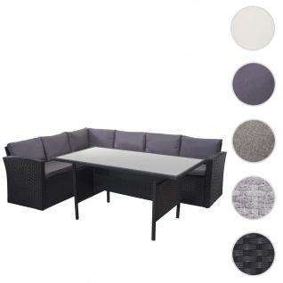 Poly-Rattan-Garnitur HWC-A29, Gartengarnitur Sitzgruppe Lounge-Esstisch-Set, schwarz ~ Kissen dunkelgrau