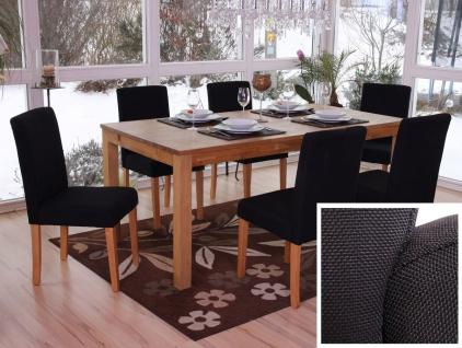 6x Esszimmerstuhl Stuhl Küchenstuhl Littau ~ Textil, schwarz, helle Beine