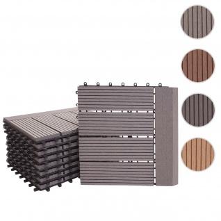 WPC Bodenfliese Rhone + Abschluss, Holzoptik Balkon/Terrasse, 11x je 30x30cm = 1qm Premium ~ grau linear waagrecht