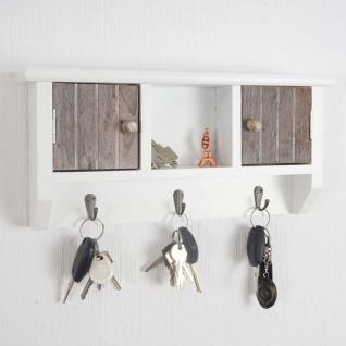 Schlüsselbrett HWC-A48, Schlüsselkasten Schlüsselboard mit Türen, Massiv-Holz ~ shabby braun-weiß - Vorschau 2