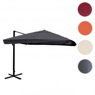 Gastronomie-Ampelschirm HWC-A96, 3, 5x3, 5m (Ø4, 95m) Polyester/Alu 25kg ~ Flap, anthrazit ohne Ständer, drehbar