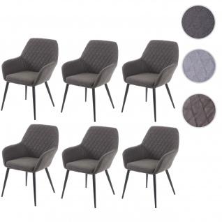 6x Esszimmerstuhl HWC-D35, Stuhl Küchenstuhl, Stoff/Textil Retro ~ dunkelgrau